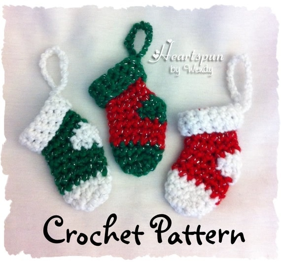 Free Crochet Patterns For Mini Christmas Stockings : Items similar to Mini Christmas Stocking CROCHET PATTERN ...