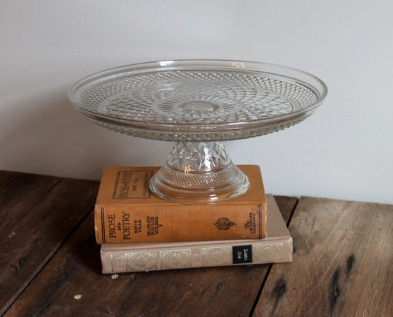 clear wedding cake stand cake stand glass vintage clear pedestal by thesquirrelcottage 12881