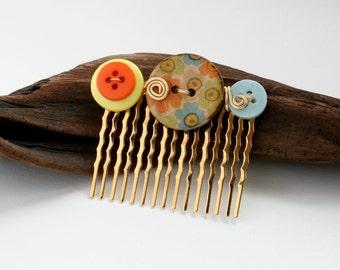 CLEARANCE Gold Hair Comb, Floral Button Hair Comb, Orange Button Hair Comb, Button Hair Comb, Blue Button Hair Comb, Wire Wrapped Hair Comb