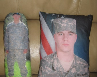 MILITARY DEPLOYMENT Custom Photo Plush Doll or Pillow for Child (Help Ease Stress From Parent Being Deployed)