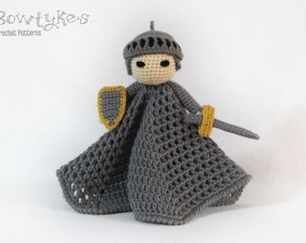 Noble Knight Lovey CROCHET PATTERN instant download - blankey, blankie, security blanket