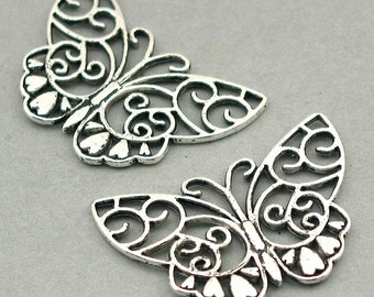 2 Butterfly Charms Antique Silver 2pcs base metal beads 26X38mm CM0422S