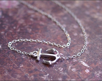Sideways ANCHOR Necklace- Silver Anchor Pendant- STERLING SILVER Chain. Strength, Hope Jewelry- Navy, Nautical Necklace