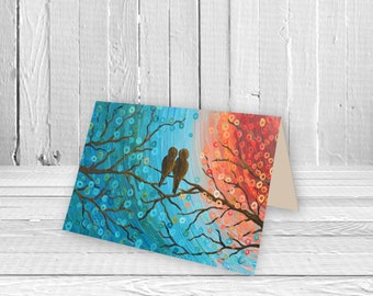 Turquoise & Orange Two Lovebirds in a Tree Greeting Card - Birthday Card, Wedding Card, New Home Card, Art Card, Valentine's Day Card