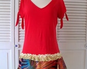 Tee shirt dress, T dress, Red tunic, upcycled,  Hippie tunic, gypsy dress, tunic Tee, Size 8 Medium, ruffle hem, V neck, red women's top