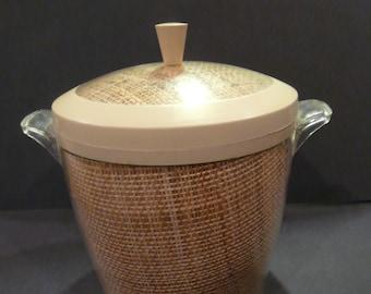 Plastic Raffia Burlap Beige Ice Bucket Vintage