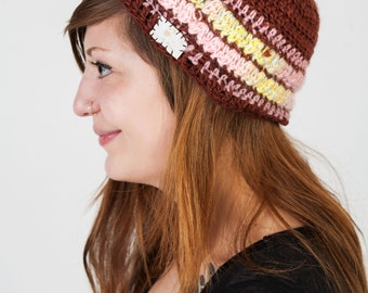 Earth meets Sky: A Hand-Crocheted Freeform Tam, Freestyle, Crochet, Beret, Spring Accessory, Winter Accessory, Slouchy Hat, Brown, Pink, Hat