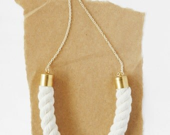 Chain and Rope Necklace - Natural Cotton Piping Cord
