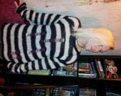 Hand Knitted Mohair Sweater Black & White Stripes Worn by Sheri Moon Zombie in Lords of Salem