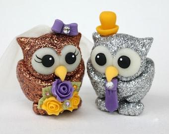 Glitter love bird owl wedding cake topper, glitter wedding decor, sparkly owls
