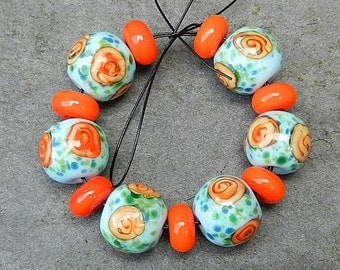 Turquoise and Orange Roses bead set FHFteam SRA UK