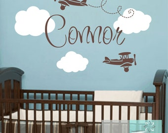 Vinyl Wall Decals Airplane Wall Decals Airplane Cloud and Name Vinyl Wall Decal for Baby Nursery or Boys Room Baby Nursery Wall Art WA359