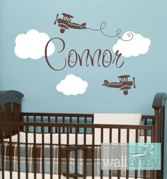 Items similar to vinyl wall decals airplane wall decals for Baby boy wall mural