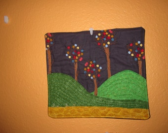 Trees on a Hill, small art quilt
