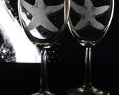 4 Starfish wine glass set beach gift hostess wine and spirits gift ideas for her  10oz