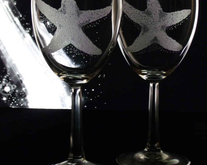 Starfish Wine Glasses  set of four hand engraved beach theme glasses