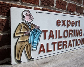 Vintage Sign Expert Tailoring Alterations Sign Old Plastic Sign 1980s 80s Era vtg Store Sign Advertising Retro Throwback Raised Letters 3D
