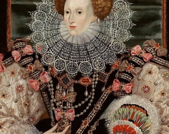 Queen Elizabeth 1 Portrait Print from 1600 by George Gower