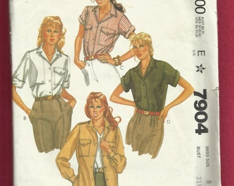 McCalls 7904 Rolled Up Sleeves Shirts with Button Down Yoke Shield and Patch Pockets Size 8 UNCUT