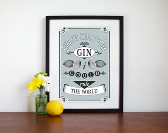 Kitchen Print, Gin Poster, Blue Wall Art, Gift for Her, Liquor, Alcohol, Food Print, Gin Print, Quote Print, Gin Gift, Gin, Art Print