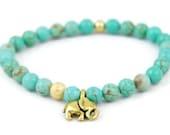 Gold Elephant Bracelet, Gemstone Bracelet, Beaded Gemstone, Green, Magnesite, Crystal, Healing, Stretch Bracelet, Teal, Elephant Jewelry