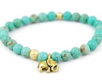 Gold Elephant Bracelet, Gemstone Bracelet, Beaded Gemstone, Green, Magnesite, Crystal, Healing, Stretch Bracelet, Teal, Elephant Jewelry