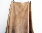 1970s Leather Skirt Fully Lined Camel