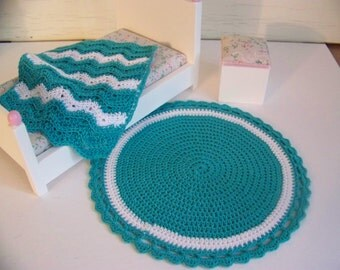 Dollhouse Miniature Hand Crocheted Circular White & Teal Area Rug (Made from Bamboo Thread)