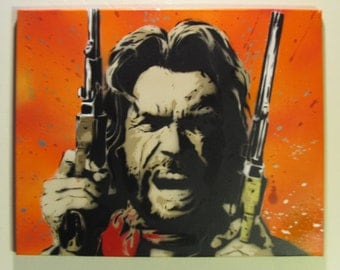 Clint Eastwood - Outlaw Josey Wales - Original Spray Paint stencil art on canvas - Dirty Harry