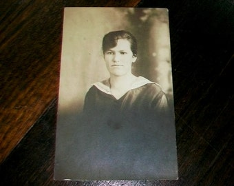 Vintage Photograph Postcard of an Edwardian Young Woman RPPC 1900s