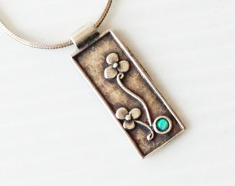 silver pendant and necklace, small pendant with flowers and an opal stone, 925 silver pendant