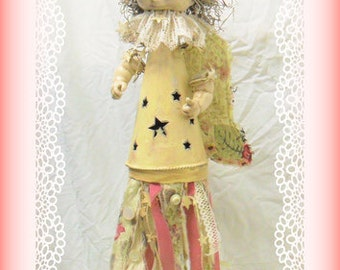 Art doll, repurposed, recycled, assemblage,altered, shabby chic, OOAK, Angel