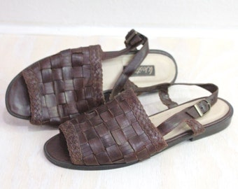 Vintage Espresso Leather Woven Sandals Sz 9