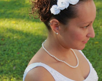 Romantic white flower crown headband. Metal wrapped headband. fits women and children. fascinator