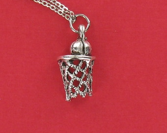 BASKETBALL HOOP Necklace - Pewter Charm on a FREE Plated Chain