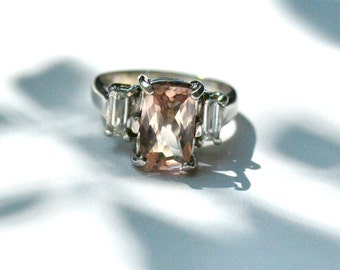Morganite and White Sapphire Engagement Ring in White Gold
