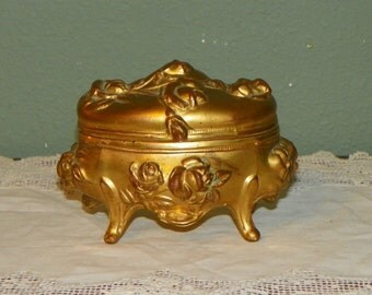 Antique Box Jewel Glove trinket Jewelry Casket Art Nouveau ormolu Victorian gold gilt