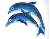 Blue DOLPHINS JUMPING wall plaque