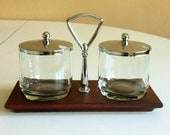 Anchor Hocking Mid Century Condiment / Cream Sugar / Salt Pepper Set: Teak Wood Base w/ Chrome Handle, Glass Containers w/ Chrome Lids