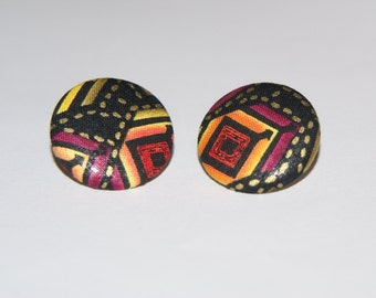 Fabric Covered Button Earrings- Abstract 1