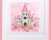 Princess Room Art ~ Personalized Princess Castle ~ Childrens Wall Art ~ Girls Room Decor ~ Girls Nursery ~ Princess Decor  Princess Wall Art