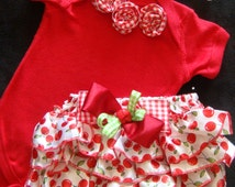 Newborn baby girl Take Me Home outfit cherries gingham bloomers bodysuit headband red green rosettes bows