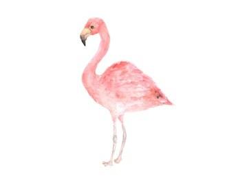 Tropical art, flamingo print, flamingo, tropical print, bird painting, watercolor flamingo, flamingo art, watercolor birds, 8X10