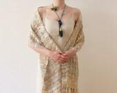 Lariat fiber necklace, textile crochet jewelry, olive green teal, OOAK