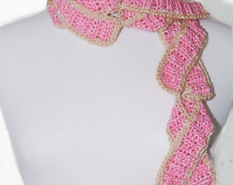 Breast Cancer Scarf-Breast Cancer Cookies-Crochet Scarf-Pink-Neck Warmer-Gift For Women-Food Scarf-Women Scarf