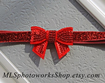 Baby Girl Christmas Bow Headbands - Little Sparkly Red Hair Bow for Babies, Toddlers, Little Girls - Available in Many Colors