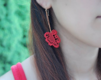 Lace Earrings -- Red Lace, Rose Gold, Copper Chains