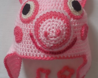 pig crochet hat pattern, english and American terms