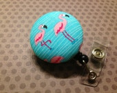 Frolicking Flamingos Retractable Badge Holder (L4)