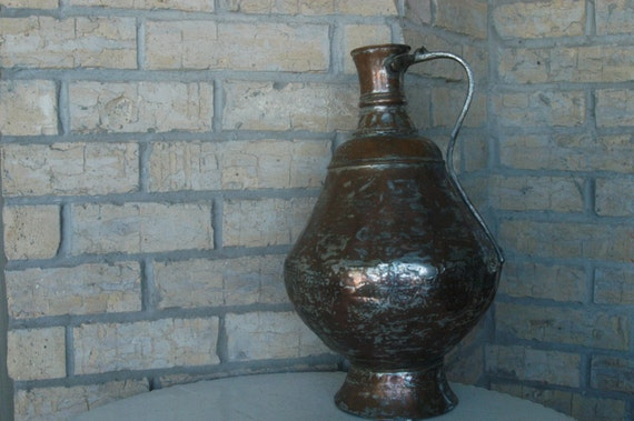 """Vintage Copper Pitcher Rustic Hammered White Copper Large 16"""" Pitcher with Brass Handle Beautiful Shabby Chic Vase Large Unique Decor"""
